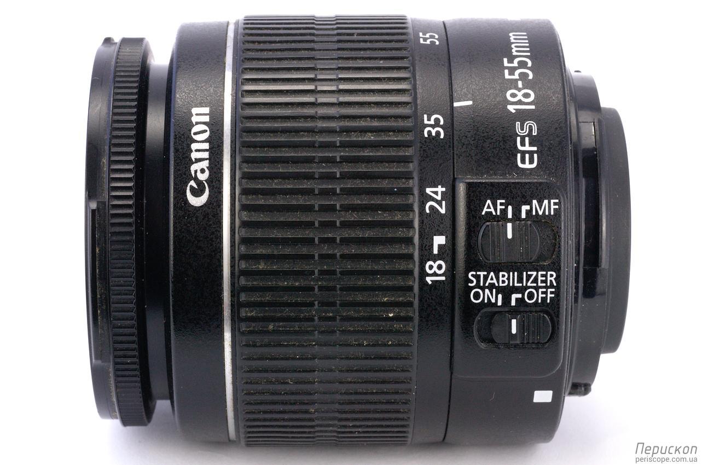 Объектив Canon EF-S 18-55 мм f/3.5-5.6 IS II вид сбоку
